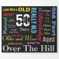 DIY Age | 50th Happy Birthday | Milestone Wrapping Paper