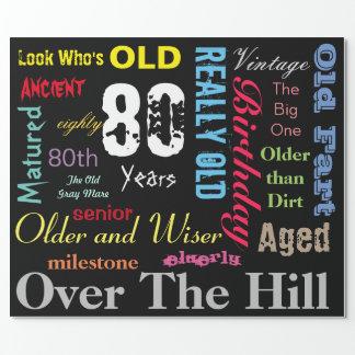 DIY Age | 80th Happy Birthday | Milestone Wrapping Paper