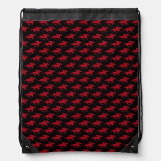 DIY Any Color/Dark Red Race Horses Drawstring Bag