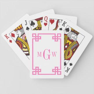 DIY Background Greek Key Fancy Hot Pink Framed 3I Playing Cards