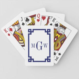 DIY Background Greek Key Navy Blue Framed #2 3I Playing Cards