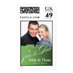 DIY Baroque Lace Save the Date Photo (celedon) Postage Stamps
