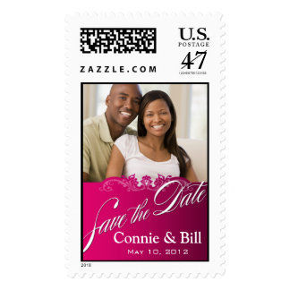 DIY Baroque Lace Save the Date Photo (fuschia) Postage