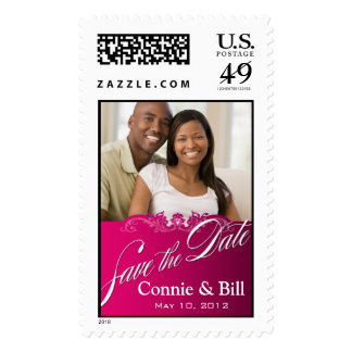 DIY Baroque Lace Save the Date Photo (fuschia) Stamp