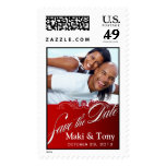 DIY Baroque Lace Save the Date Photo (red) Postage