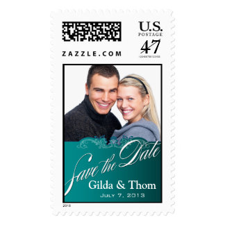 DIY Baroque Lace Save the Date Photo (teal) Postage