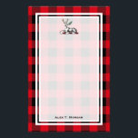 "DIY BG Buffalo Plaid Tartan Black Red #2 Stag Fern Stationery<br><div class=""desc"">DIY Choose Your Own Background (initially set to burgundy) and Black Buffalo Check Tartan Plaid Name Monogram on Black Stationery / Writing Paper - Slightly Translucent White Overlay - Vintage Image of Stag with Fern Stationery with a slightly translucent white writing area (the pattern faintly shows through) and patterned border....</div>"