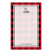 DIY BG Buffalo Plaid Tartan Black Red #2 Stag Fern Stationery