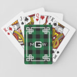 "DIY BG Greek Key Buffalo Plaid 3I Forest Green Playing Cards<br><div class=""desc"">DIY Choose Your Background Color and White Greek Key Buffalo Plaid Tartan 3 Initial Monogram (initially set to Forest Green) A stylish solid background with a white fancy Greek Key frame area for your 3 initial monogram, name or other text. Choose your own background color by clicking on &quot;Customize it&quot;....</div>"