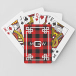 "DIY BG Greek Key Buffalo Plaid 3I Red Playing Cards<br><div class=""desc"">DIY Choose Your Background Color and White Greek Key Buffalo Plaid Tartan 3 Initial Monogram (initially set to Red) A stylish solid background with a white fancy Greek Key frame area for your 3 initial monogram, name or other text. Choose your own background color by clicking on &quot;Customize it&quot;. You...</div>"