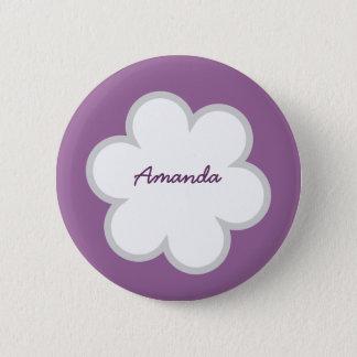 DIY Big Flower AMANDA or ANY Name WHITE PURPLE V01 Button