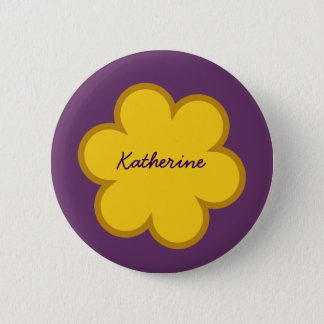 DIY Big Flower KATHERINE or ANY Name GOLD PURPLE Button