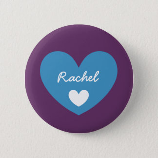 DIY Big Heart RACHEL or ANY Name V15 BLUE Button