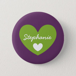 DIY Big Heart STEPHANIE or ANY Name V15 GREEN Pinback Button