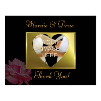 DIY Black Wedding Thank Your Card   Flower Set Postcard