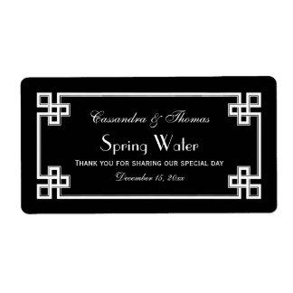 DIY Black Wht Greek Key Frame H Water Bottle Label