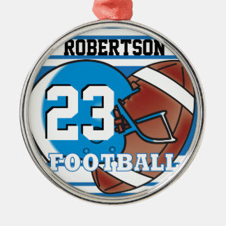 DIY Blue & White Football & Helmet Metal Ornament