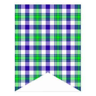 DIY Bunting Flag Blue and Green Plaid #5 Postcards