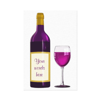 DIY BURGUNDY RED WINE BOTTLE GLASS DRAWING CANVAS CANVAS PRINT