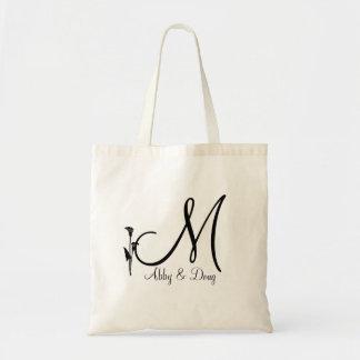 DIY Calla lily logo with monogram Tote Bag