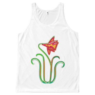 DIY  Choice of 256 background colors FLOWERS All-Over Print Tank Top
