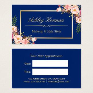 DIY Color | Floral Gold Beauty Salon Appointment Business Card