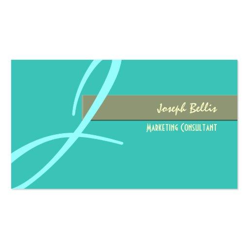 diy color, monogram in seafoam/blue business card