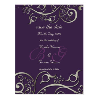 diy color, save the date, monogram silver swirls postcard