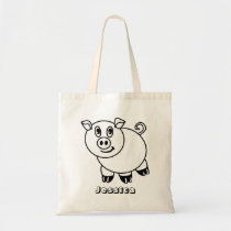 DIY Color Your Own Pig Personalized Kids Tote Bag