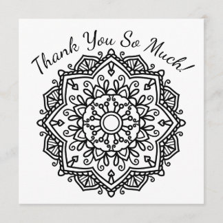 DIY Color Your Own Thank You Heart Half Mandala Note Card