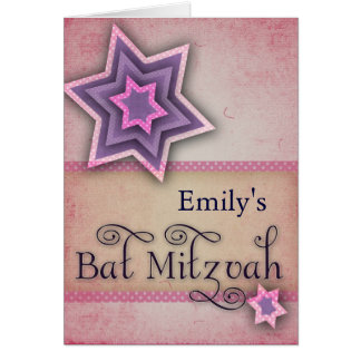 DIY Colorful Bat Mitzvah design Card