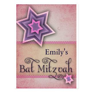 DIY Colorful Bat Mitzvah design Postcard