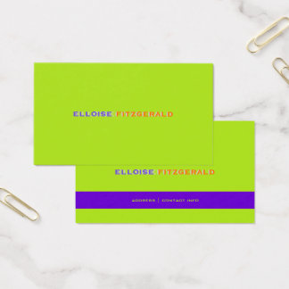 DIY colors+fonts business card/neon lime Business Card
