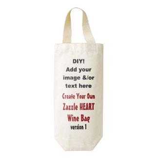 DIY crean su propio bolso V01 del vino del corazón Bolsa Para Botella De Vino Zazzle HEART