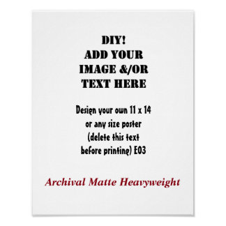 DIY Create Your Own 11 x 14 Archival Matte E03 Poster
