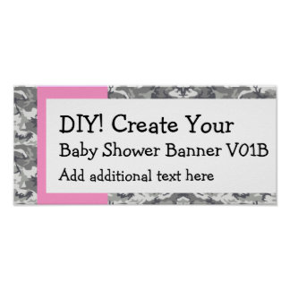DIY Create Your Own Baby Shower Banner CAMO Poster