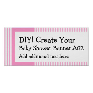 DIY Create Your Own Baby Shower Banner STRIPES A02 Poster