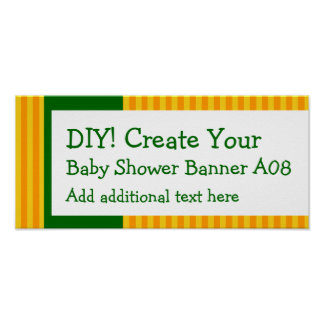DIY Create Your Own Baby Shower Banner STRIPES A08 Poster