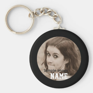 DIY Create Your Own Black Personalized Photo Frame Basic Round Button Keychain
