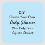 DIY Create Your Own BLUE Baby Shower Favor V03 Square Sticker