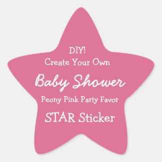 DIY Create Your Own PINK Baby Shower Favor V05H Star Sticker