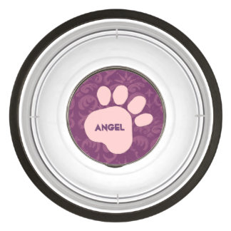 DIY Create Your Own Pink Paw Print Pattern V04B Pet Bowl