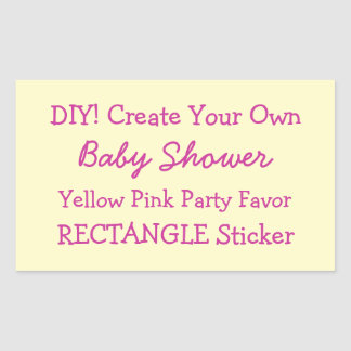 DIY Create Your Own YELLOW Baby Shower Favor V01N Rectangular Sticker