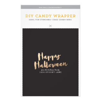 "DIY Custom Halloween 1.55oz Candy Bar Template 5.5"" X 8.5"" Flyer"