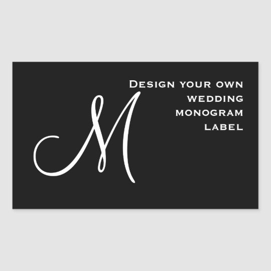 DIY Design Your Own Custom Color Wedding Monogram Rectangular Sticker