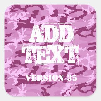 DIY Design Your Own Pink Burgundy Camo Pattern V35 Square Sticker