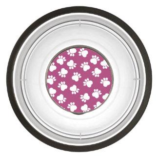 DIY Design Your Own Pink Paw Print Pattern V04 Pet Bowl