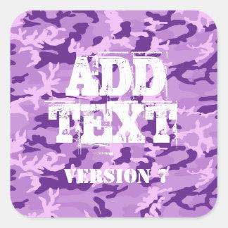 DIY Design Your Own Purple Camouflage V7 Square Sticker