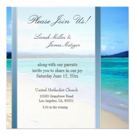 DIY Destination Beach Wedding Invitation Template 525 Square Invitation Card