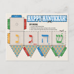 "DIY Dreidel Happy Hanukkah Greeting Card<br><div class=""desc"">DIY Dreidel Happy Hanukkah Greeting Card - Presenting a fantastic card that transforms itself in the traditional dreidel game. Designed in the spirit of Hanukkah, all you need is a pair of scissors and glue and you are ready to go. This crafty card is sure to provide much fun with...</div>"
